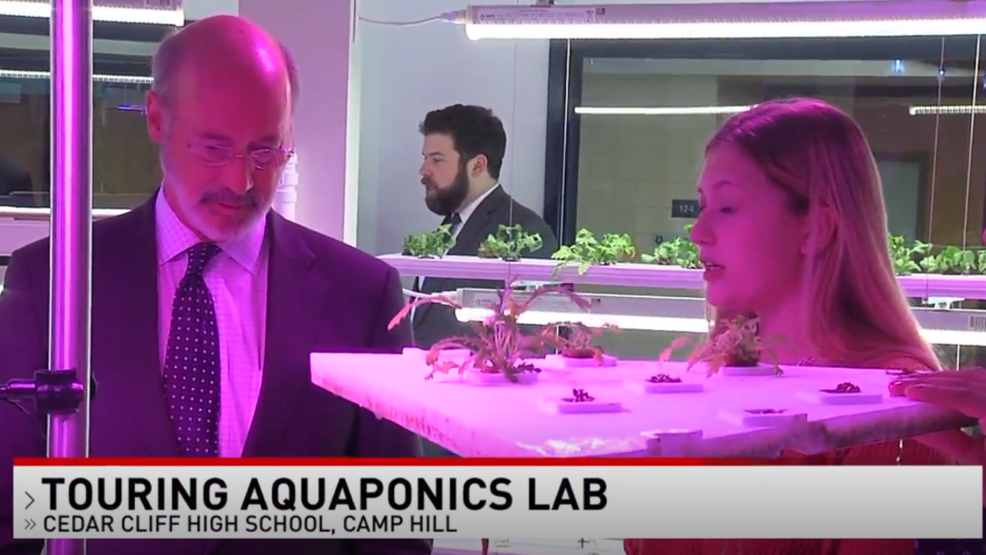 Governor Wolf visits new Aquaponics Lab opened in the West Shore S.D