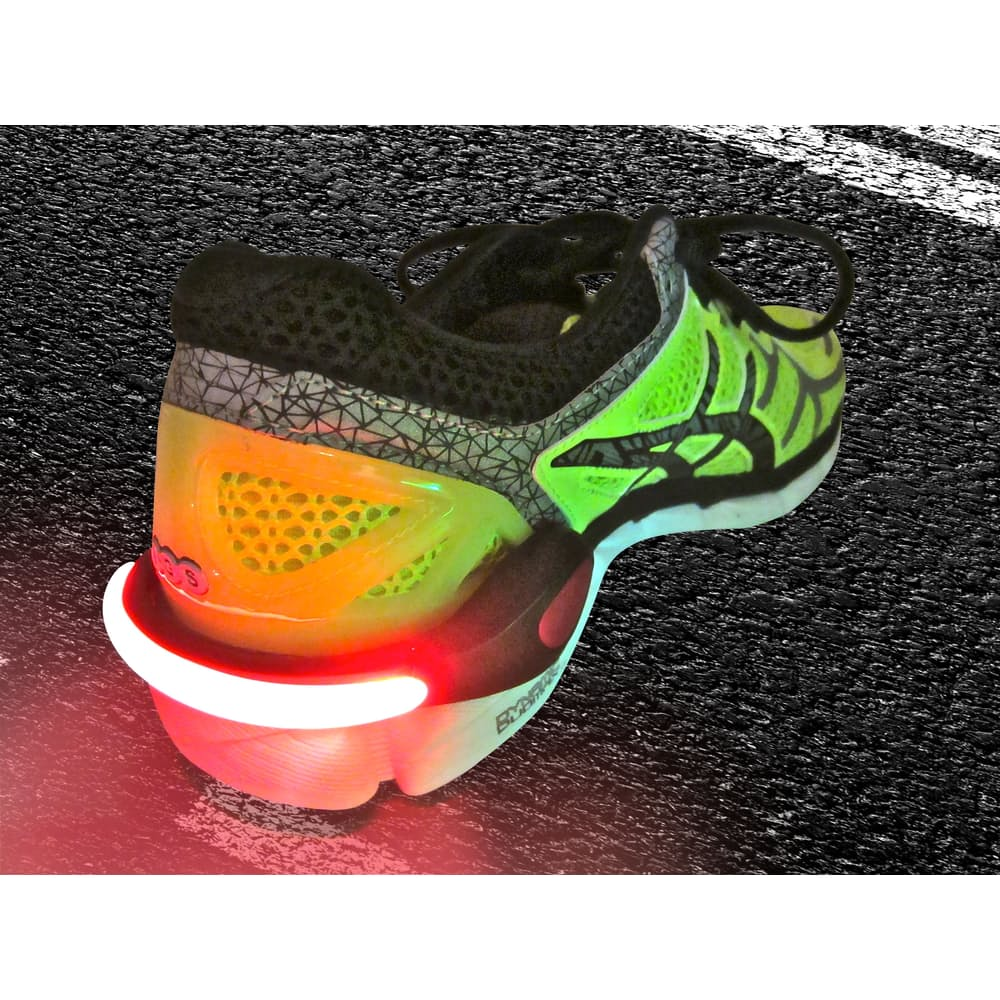 Stay safe when it's dark out and you're going for a late evening run with cool light-up spurs. (Image: Spring)
