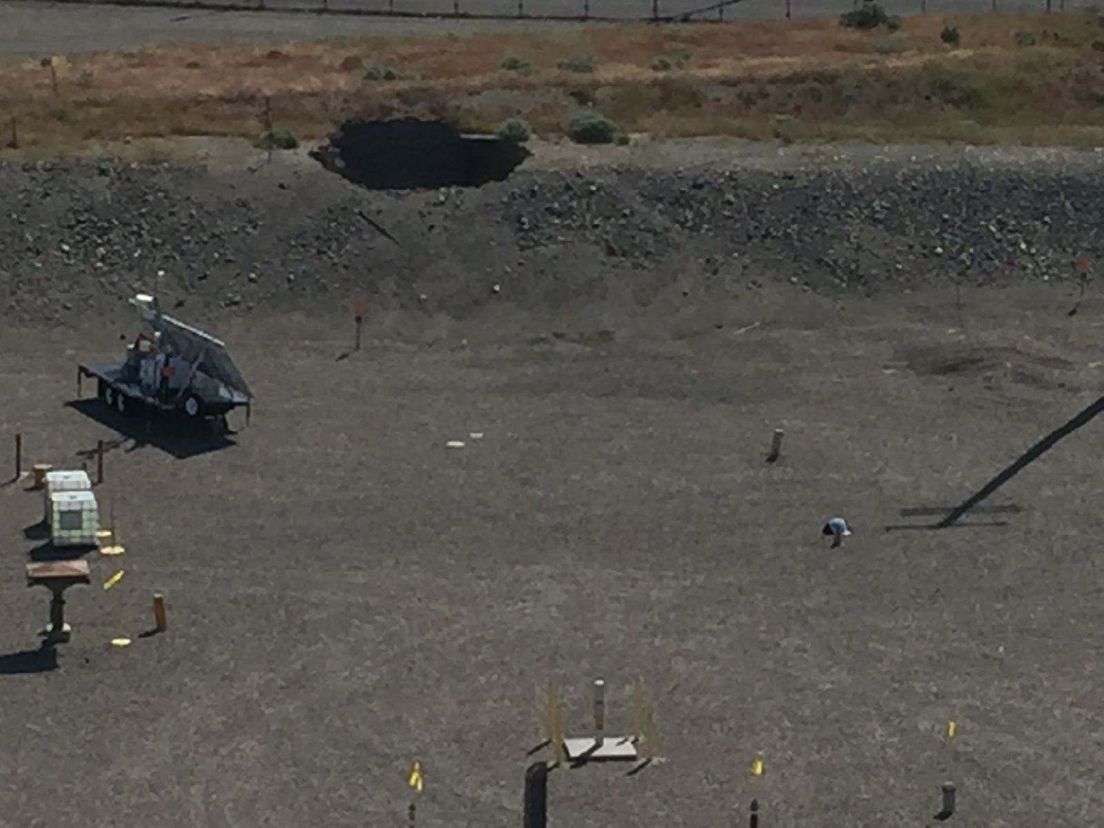 Photo shows a 20 foot-by-20 foot hole in the roof of a tunnel that is hundreds of feet long at the Hanford Nuclear Reservation (Photo: Washington Emergency Management)