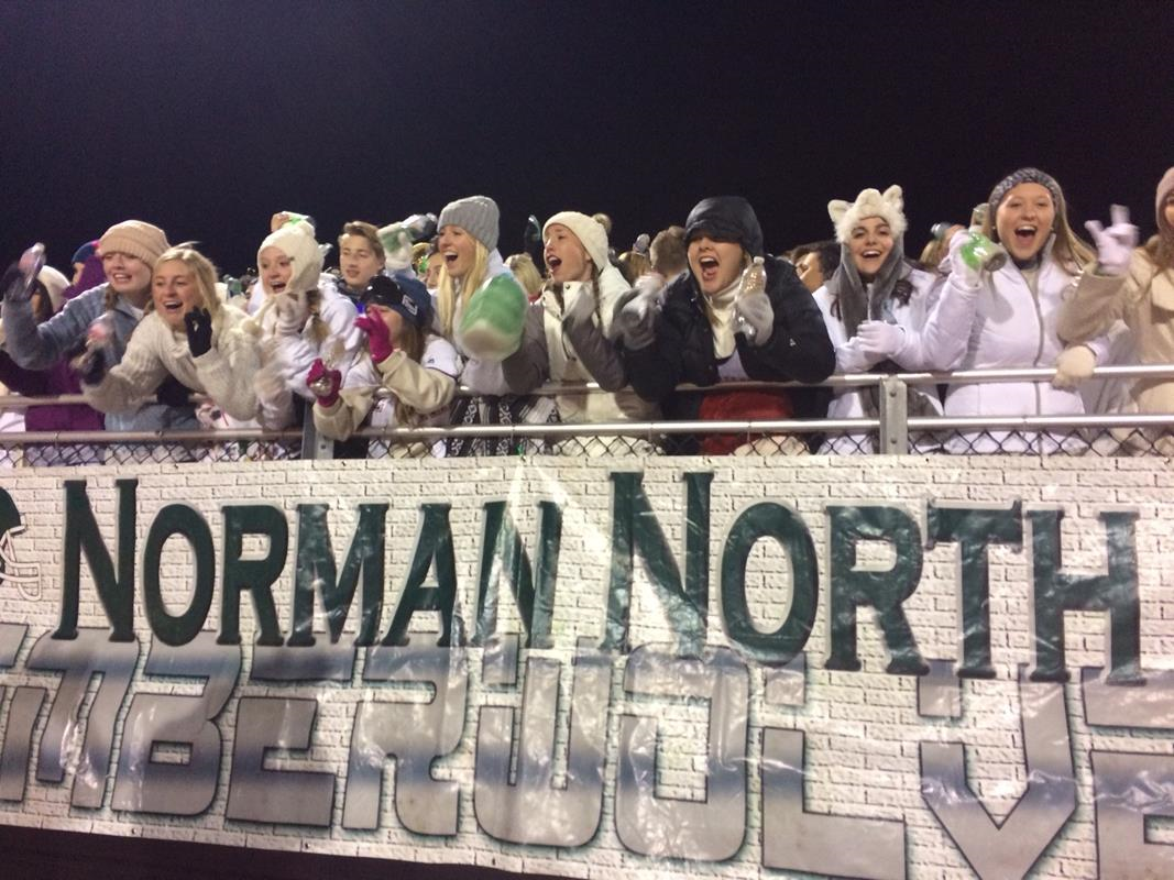 Norman North fans cheer for their team at the playoff game on Friday, Nov. 18, 2016. (Anthony West / KOKH)