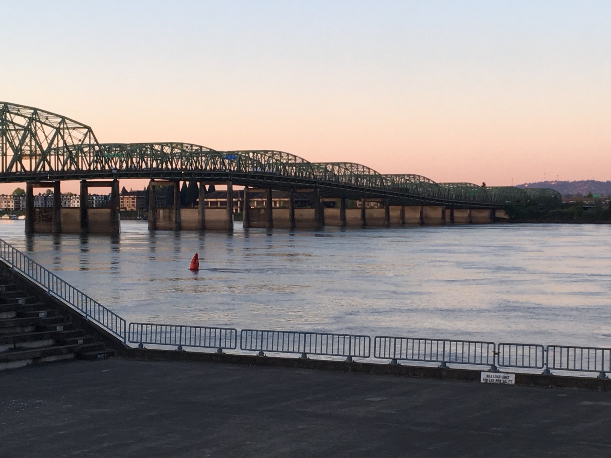 I-5 Bridge at sunrise - Photo by Mary Loos{ }