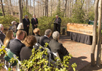 "March 2, 2018: Following the funeral service for Billy Graham, a private ceremony and interment is held at the foot of the cross-shaped Prayer Garden on the northeast side of the Billy Graham Library. (L-R, speakers Sami Dagher, Donald J. Wilton and David Bruce; see ""Private Family Interment Official Program"") (Photo credit: Billy Graham Evangelistic Association)"