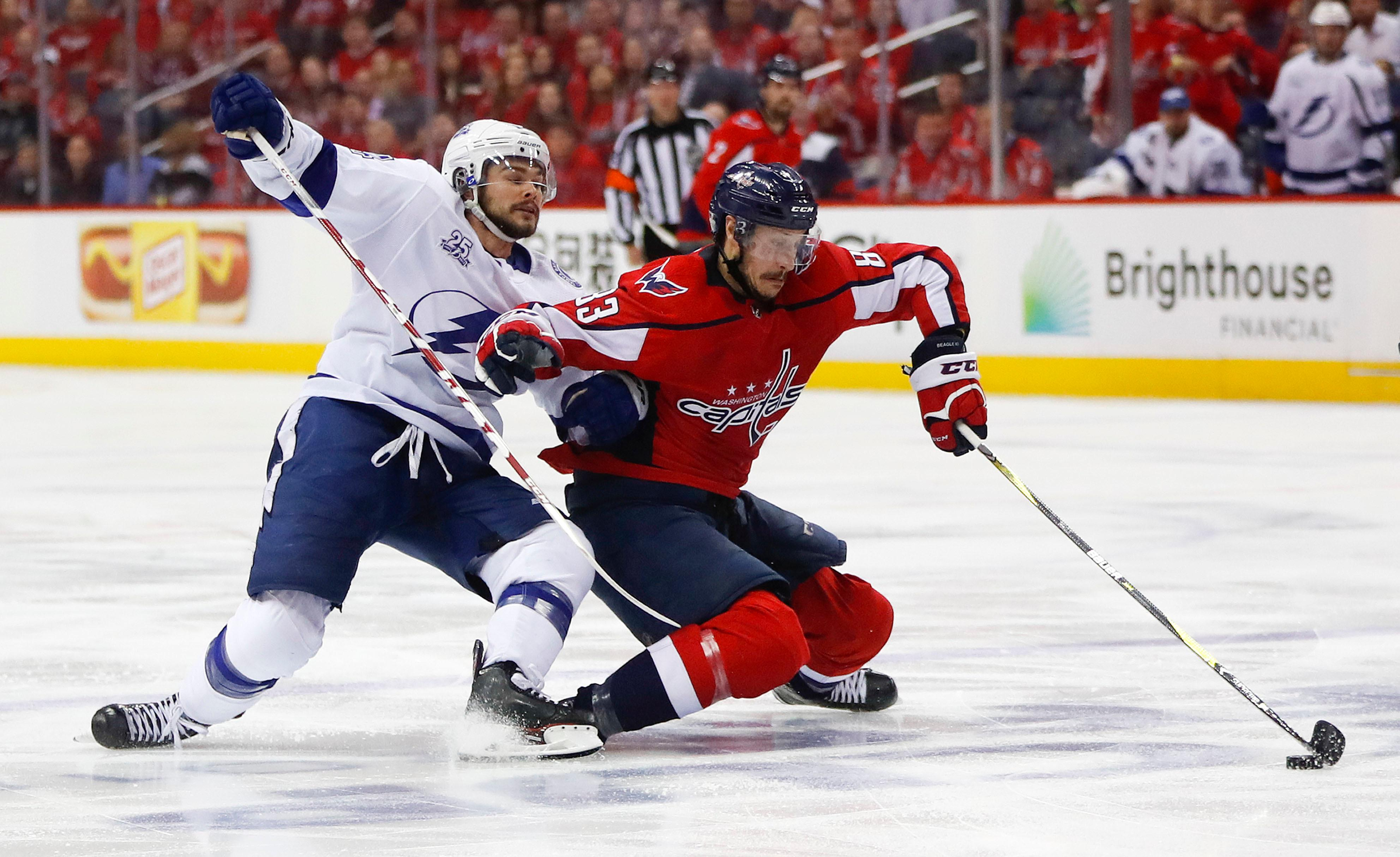 Washington Capitals center Jay Beagle (83) keeps Tampa Bay Lightning left wing Chris Kunitz (14) away from the puck during the second period of Game 6 of the NHL Eastern Conference finals hockey playoff series, Monday, May 21, 2018, in Washington. (AP Photo/Pablo Martinez Monsivais)