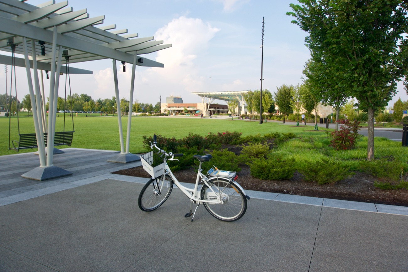 The Blue Ash Bike Share began this month (August 2018) and represents the first bike sharing program in a suburb of Cincinnati. We'll get into some details in a moment, but suffice it to say, riding a bike in and around Blue Ash was far more enjoyable than we thought it was going to be. There's just so much to do! More, the presence of a bike share really ties everything together in a way we didn't think about before. It  reformats your understanding of what Blue Ash is. / Image: Brian Planalp // Published: 8.28.18