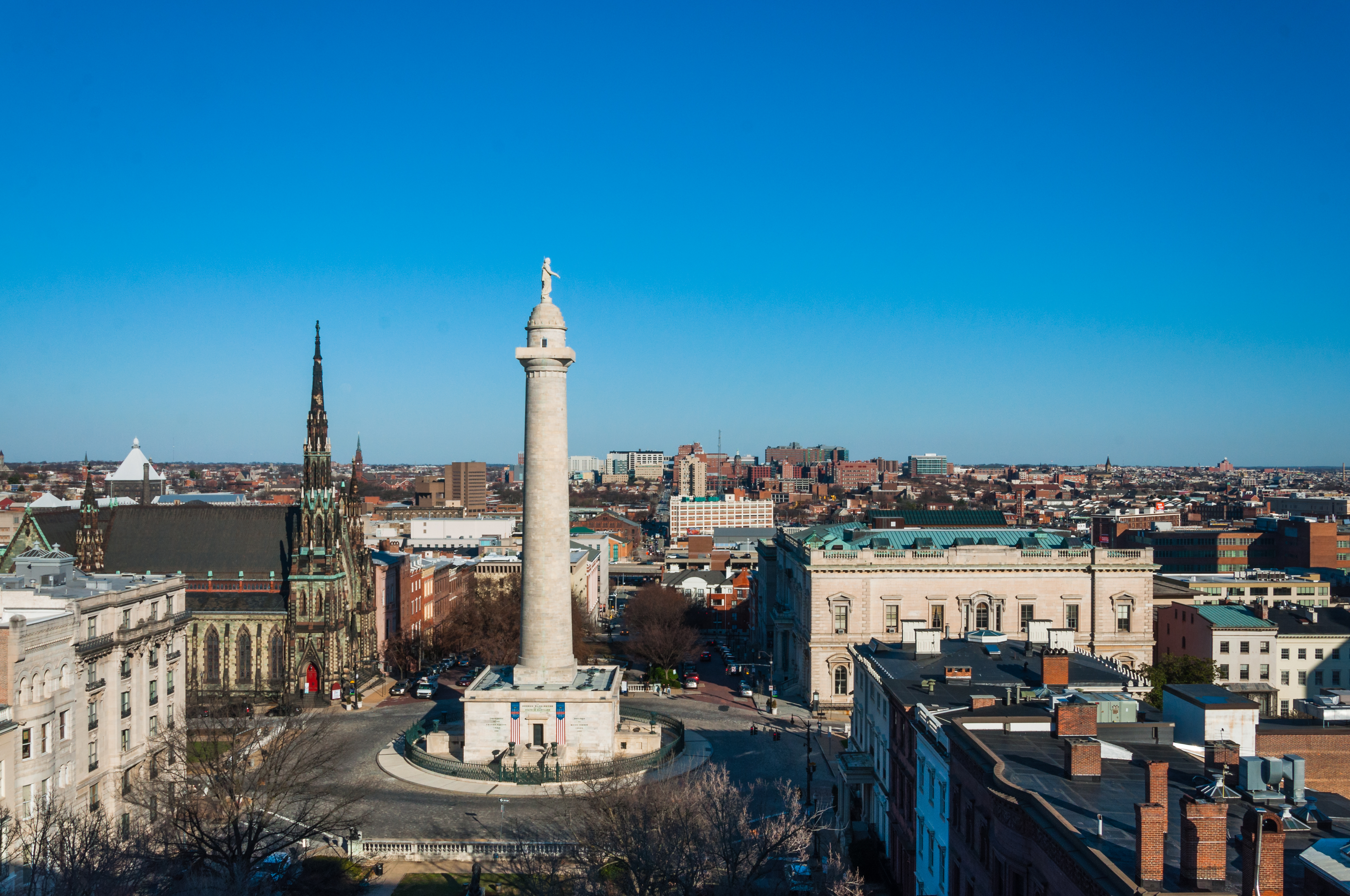Baltimore's Washington Monument can be seen from the new Hotel Revival in that city's Mount Vernon neighborhood.{ }(Image: Courtesy Hotel Revival)