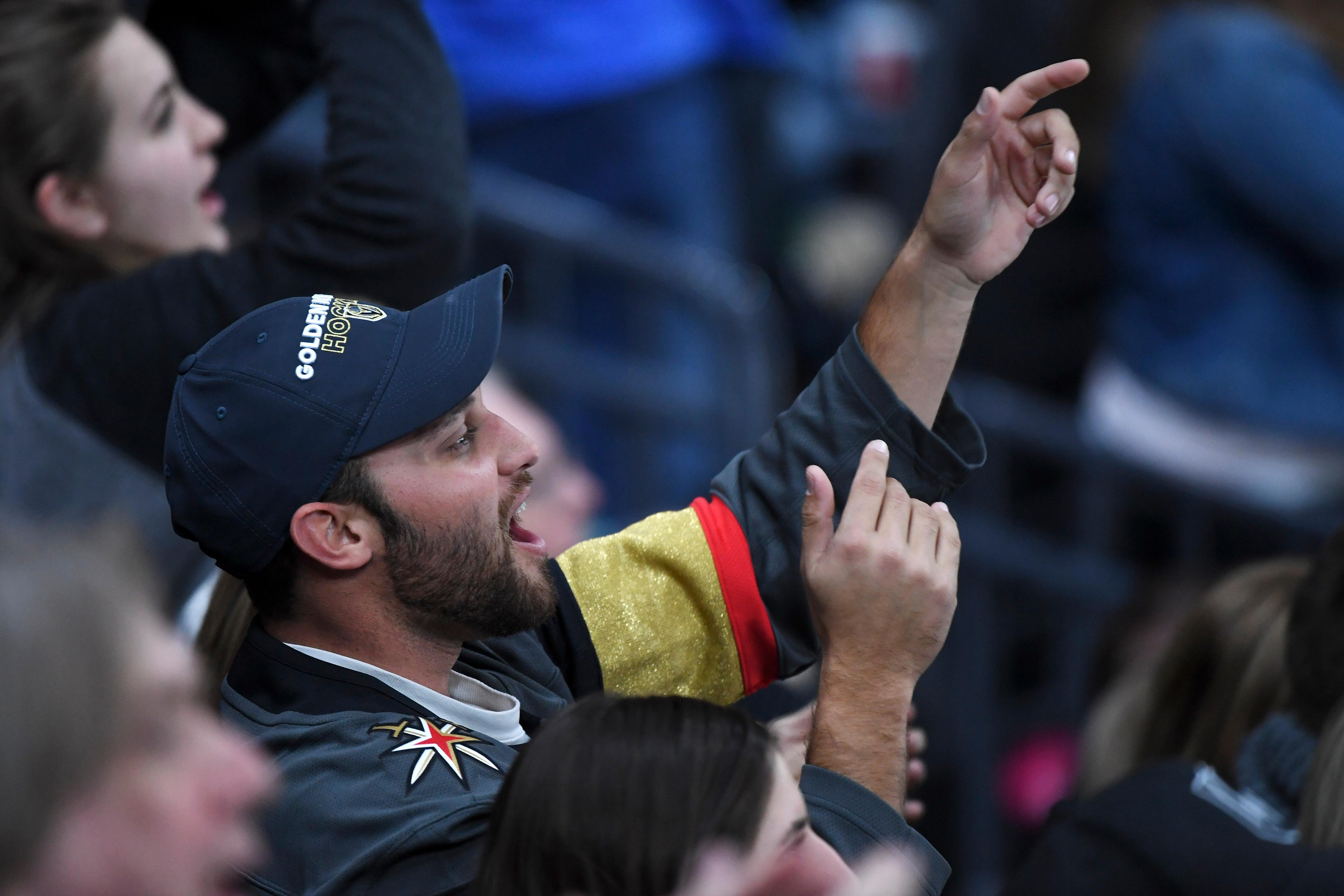 A Vegas Golden Knights fan cheers during their NHL hockey game against the Washington Capitals Saturday, December 23, 2017, at T-Mobile Arena in Las Vegas.  CREDIT: Sam Morris/Las Vegas News Bureau