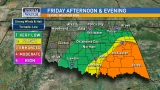 Severe weather risk across Oklahoma through Friday night