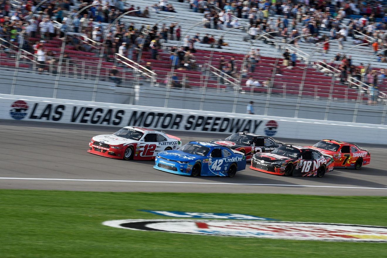 Joey Logano, left, and Kyle Larson lead the field on a restart during the NASCAR Xfinity Series Boyd Gaming 300 Saturday, March 11, 2017, at the Las Vegas Motor Speedway. (Sam Morris/Las Vegas News Bureau)