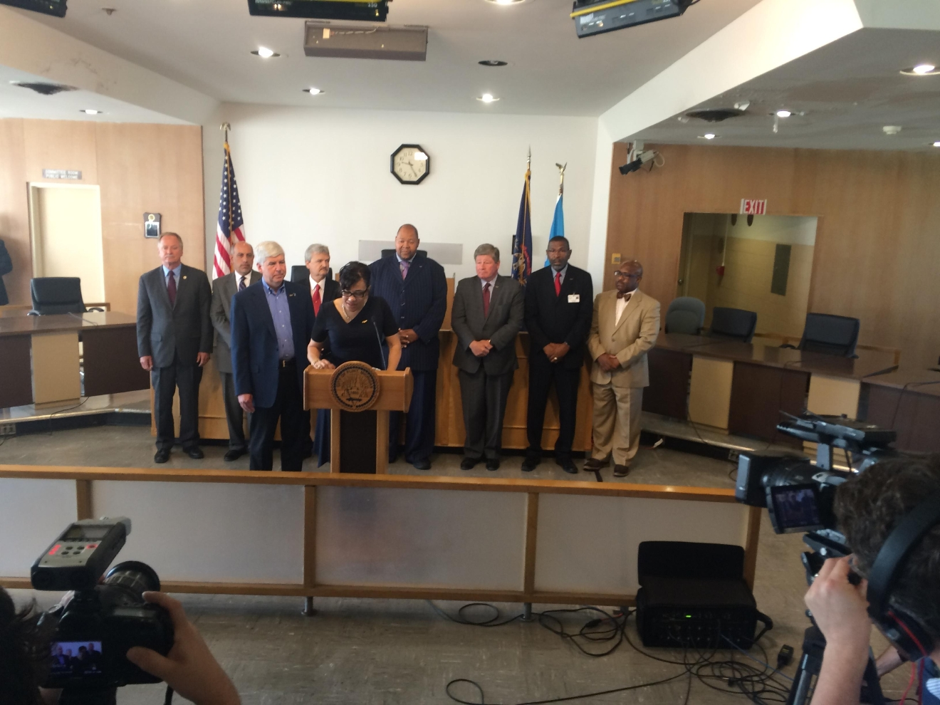 Michigan Gov. Rick Snyder and Flint Mayor Karen Weaver held a joint press conference Tuesday, June 21, 2016 to announce the future of Flint water. (Mike Horne - NBC25/FOX66 News)