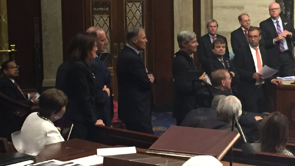 Governor Inslee is on the House floor in support of the sit-in over gun violence. Twitter photo / June 22, 2016