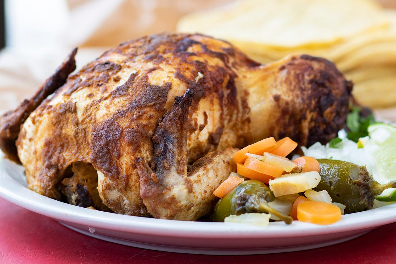 <p>Whole Rotisserie Pollo Combo Platter with tortillas / Image: Allison McAdams{&nbsp;}// Published: 8.20.19 </p>