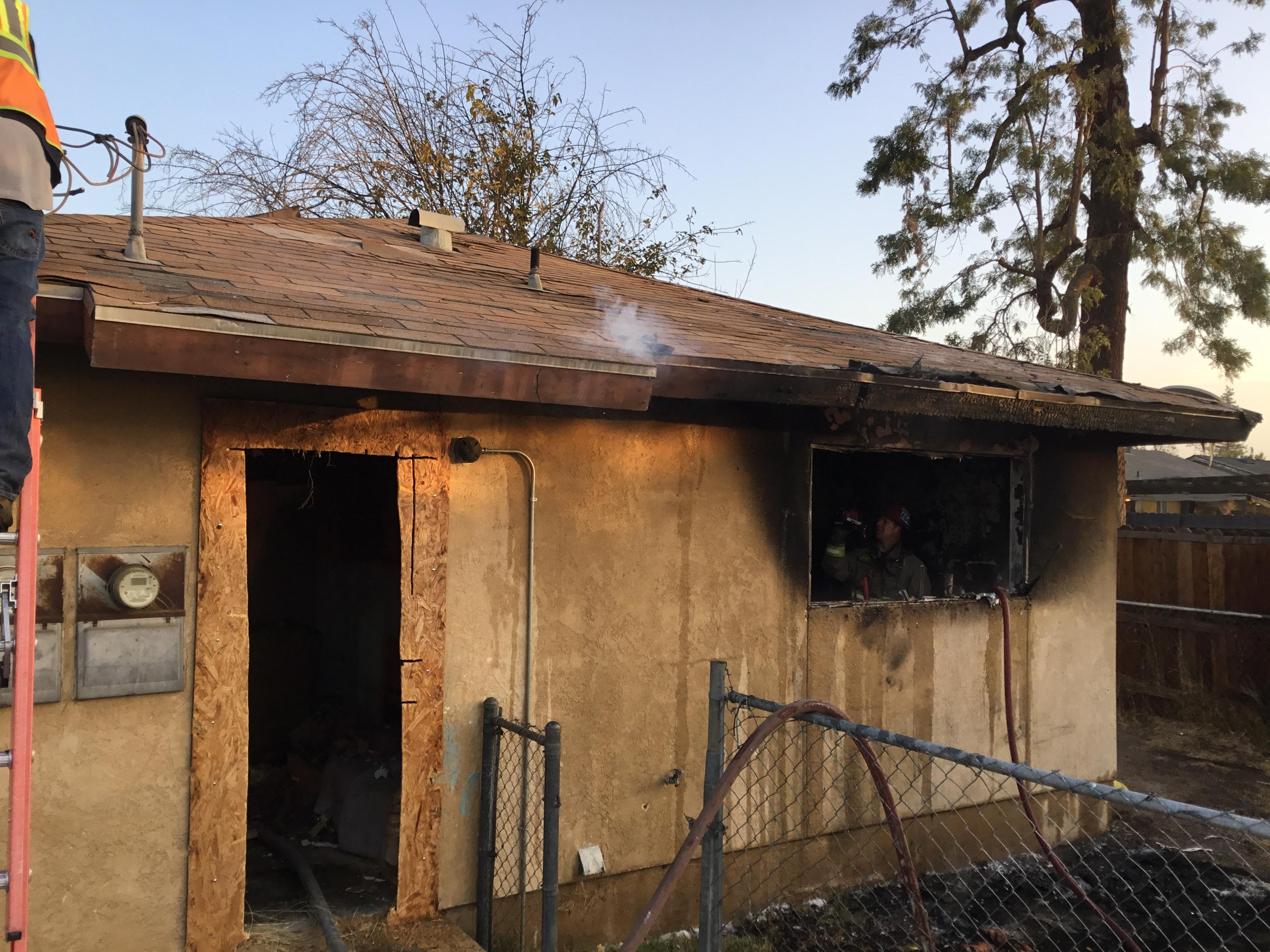 An abandoned apartment that caught fire early Thursday, Dec. 14, 2017, is seen on Cooper Avenue in Oildale, Calif. (Photo from Kern County Fire Department)