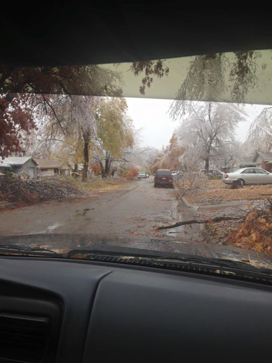 Here in our neighborhood!! Still without power. from Emily Foy