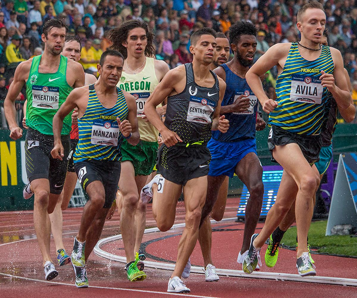 Runners compete in the second heat of the men�s 1,500 meter run semis. Day Eight of the U.S. Olympic Trials Track and Field continued on Friday at Hayward Field in Eugene, Ore. and will continue through July 10. Photo by Katie Pietzold