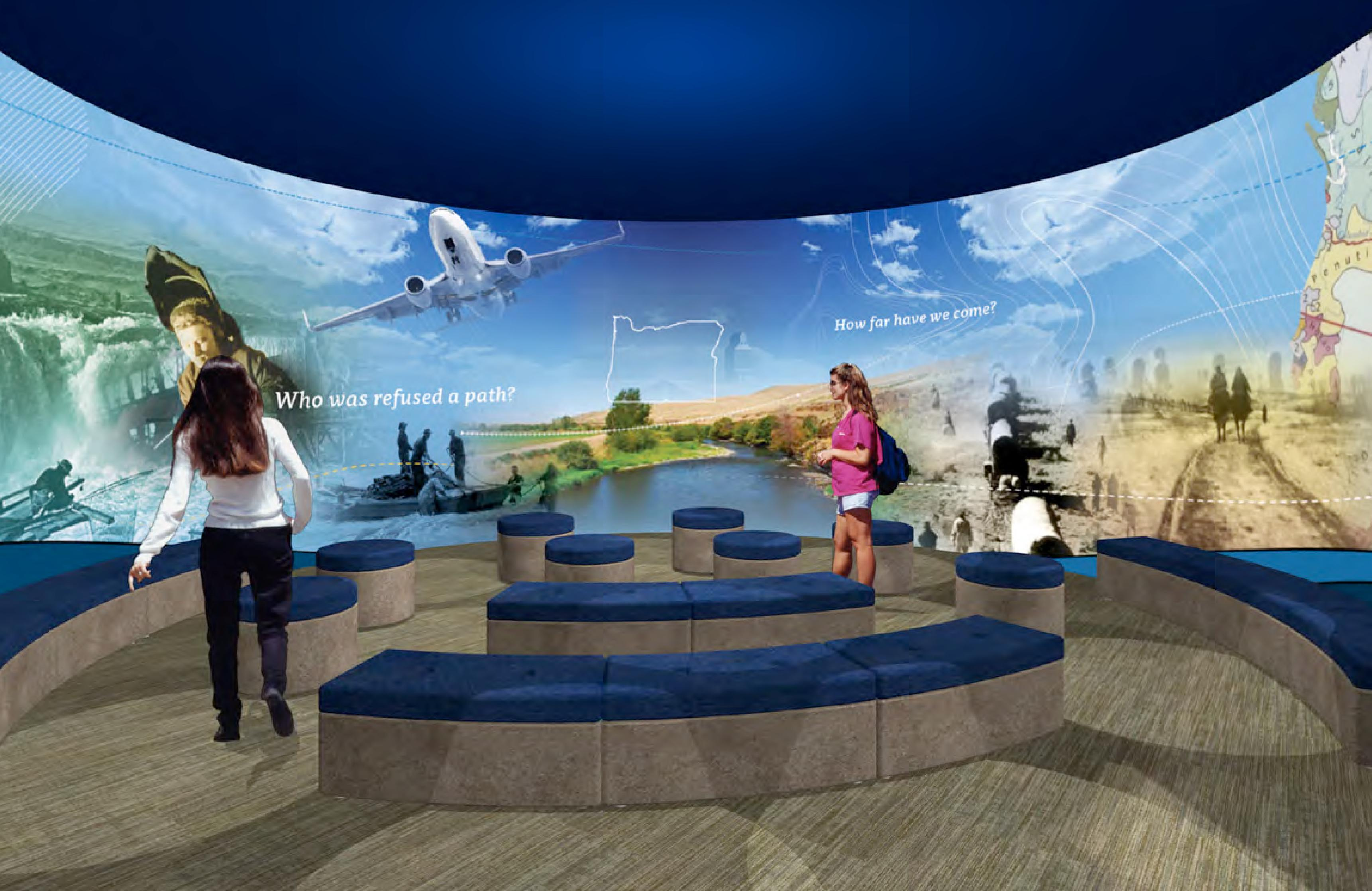 The 7,000 square foot Experience Oregon exhibit will welcome visitors with a 180 degree intro theater. From there, visitors can walk through a covered wagon. Construction begins May 1 with opening planned for February 14, 2019. (OHS)