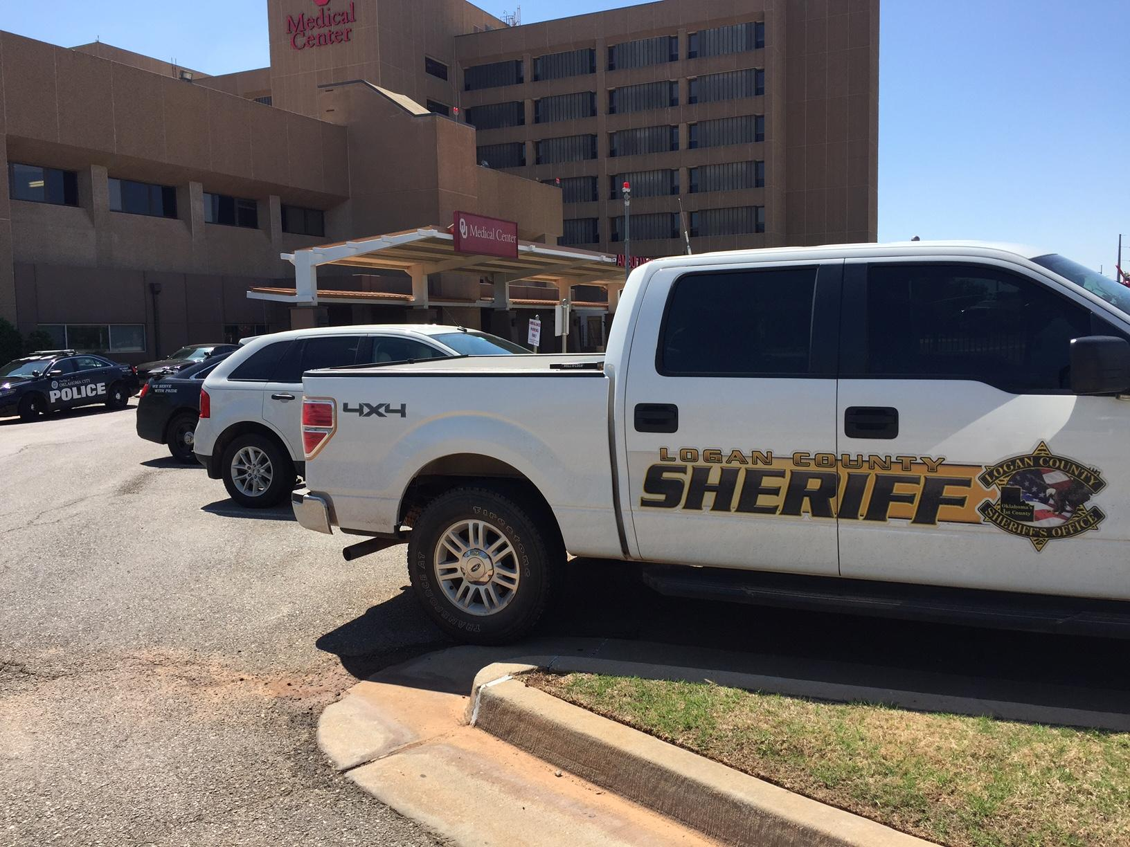 A Logan County Sheriff's vehicle sits at OU Medical Center April 18 following the shooting of a deputy. (KOKH/Scott Noland)