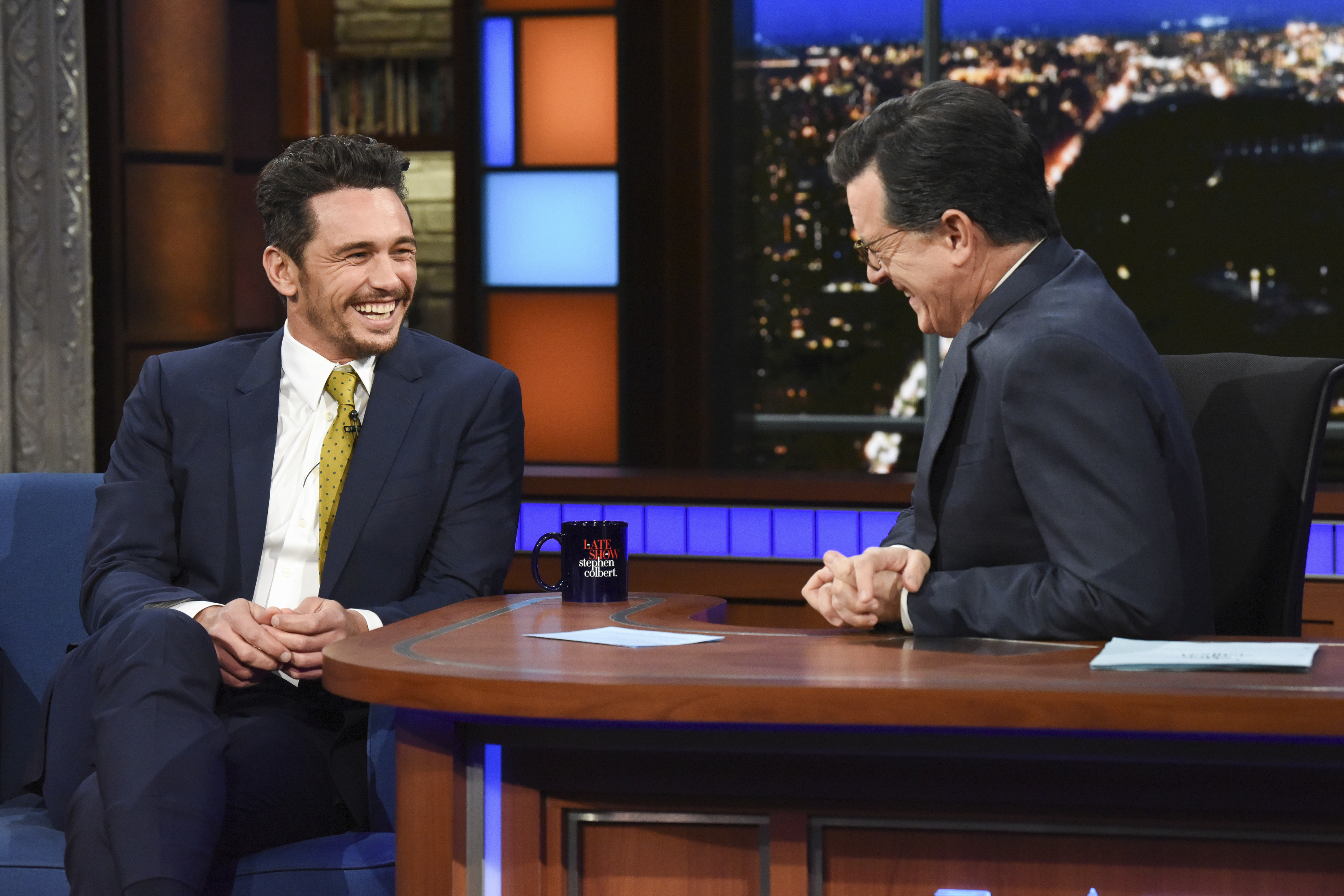 "In this image released by CBS, actor and Golden Globe winner James Franco appears with host Stephen Colbert on ""The Late Show with Stephen Colbert,"" Tuesday, Jan. 9, 2018. Facing accusations by an actress and a filmmaker over alleged sexual misconduct, Franco said the things he's heard aren't accurate but he supports people coming out ""because they didn't have a voice for so long."" (Scott Kowalchyk/CBS via AP)"
