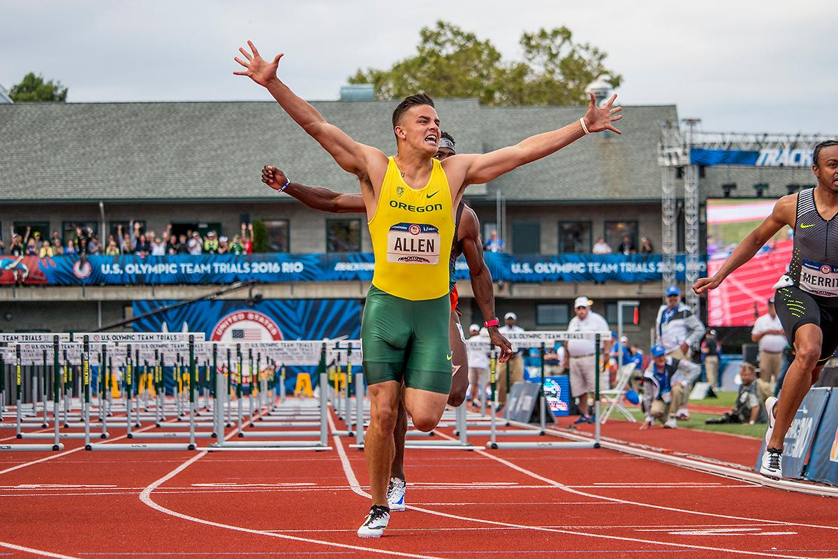 Devon Allen punches his ticket to Rio as he wins the 110m Hurdles Gold Medal at the U.S. Olympic Trials.