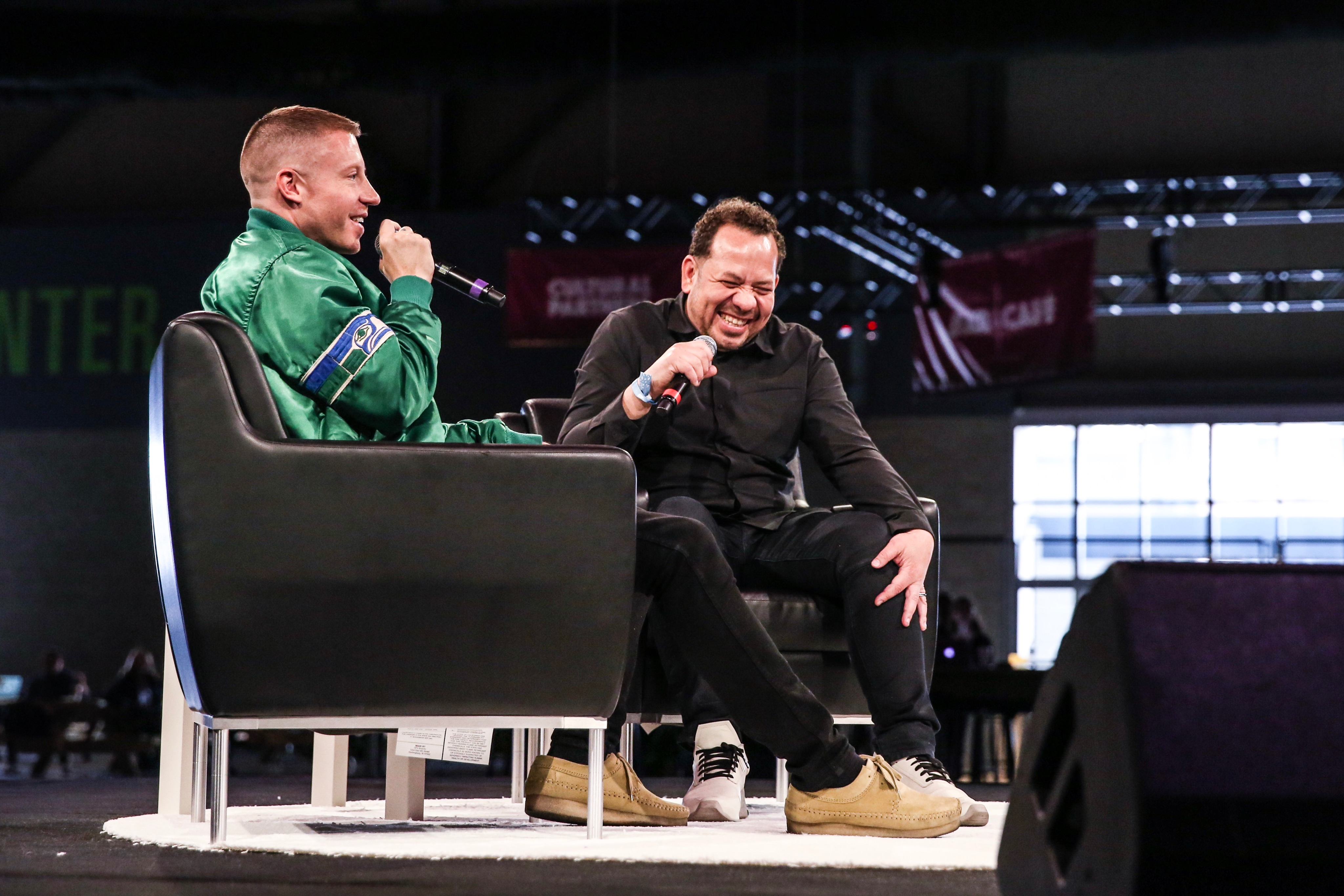 Mack spoke at length in front of hundreds with Elliott Wilson, journalist, TIDAL curator, author and television producer. And while the rapper got very personal with more about his struggles with addiction, the majority of the interview was an open love letter to his city. (Image: Sunita Martini / Seattle Refined)