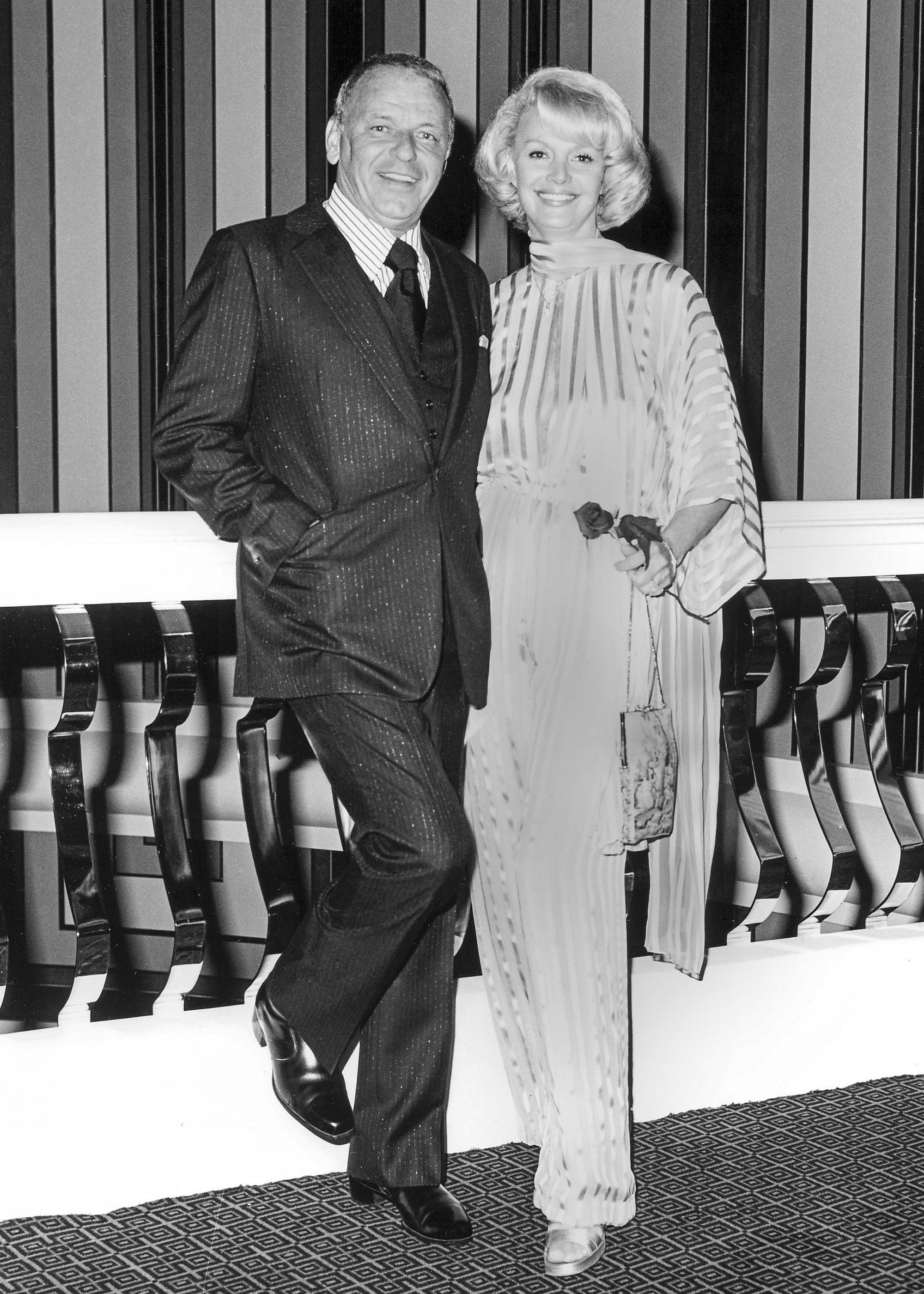 Frank Sinatra and Barbara Sinatra pose with at Caesars Palace in Las Vegas on May 23, 1976. Barbara Sinatra, the wife of late-singer Frank Sinatra, died Tuesday morning at her Rancho Mirage, Calif., home, a family spokesman announced. (CREDIT: Las Vegas News Bureau)