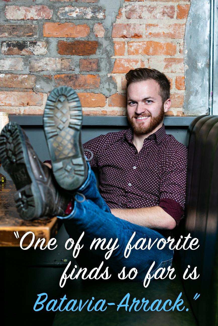 "CR: What is your favorite thing about working at Sundry? / David: ""I really enjoy the wide variety of spirits that Sundry has. I often will find a new-to-me spirit tucked away somewhere that I can taste and talk to my colleagues about. One of my favorite finds so far is Batavia-Arrack."" / Image: Amy Elisabeth Spasoff // Published: 2.26.19"