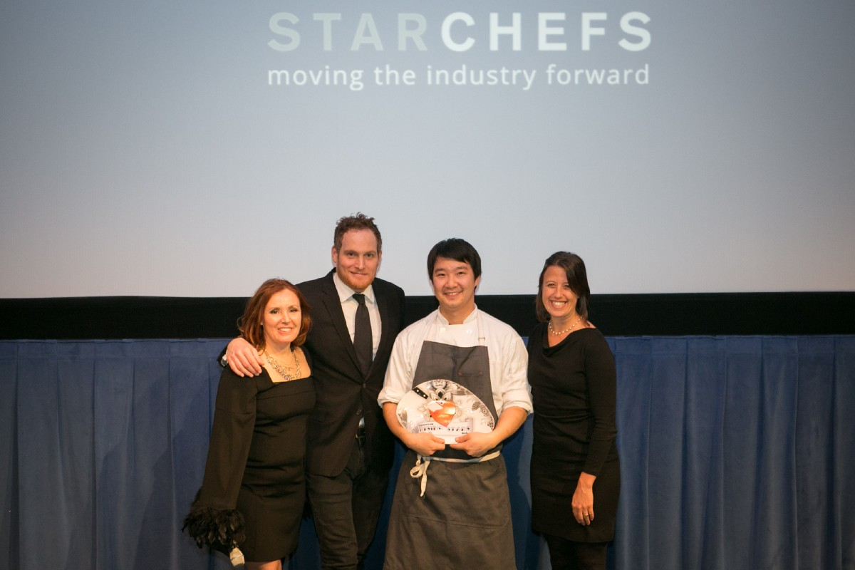 Hong Soon Park of Tray Kitchen accepting his Rising Star Sustainability Chef award. (Image: Design StarChefs)