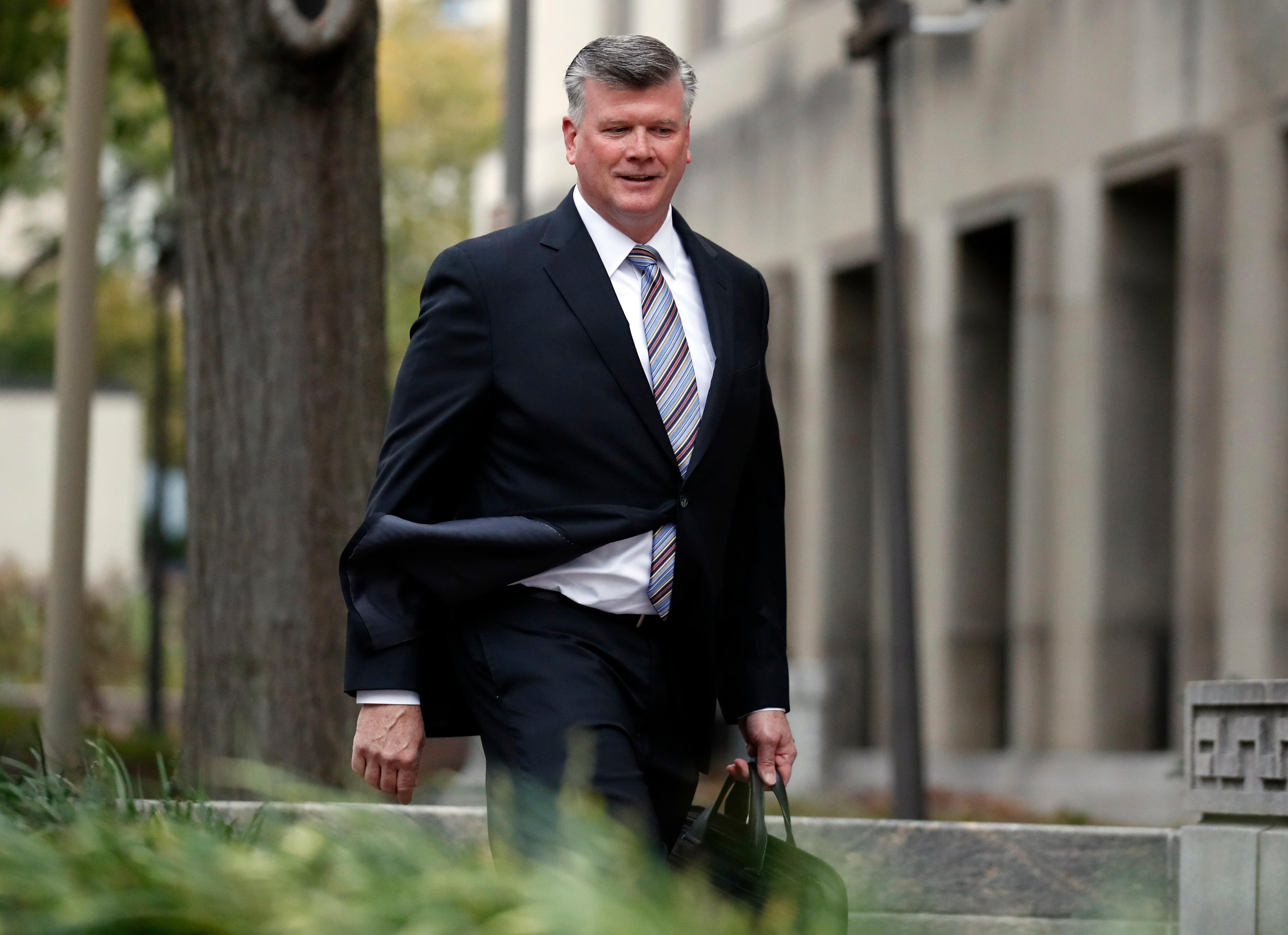Kevin Downing, attorney for Paul Manafort arrives at Federal District Court, Monday, Nov. 6, 2017, in Washington. Manafort, President Donald Trump's former campaign chairman, and Manafort's business associate Rick Gates, are in court for a bond hearing on felony charges of conspiracy against the United States and other counts. (AP Photo/Alex Brandon)