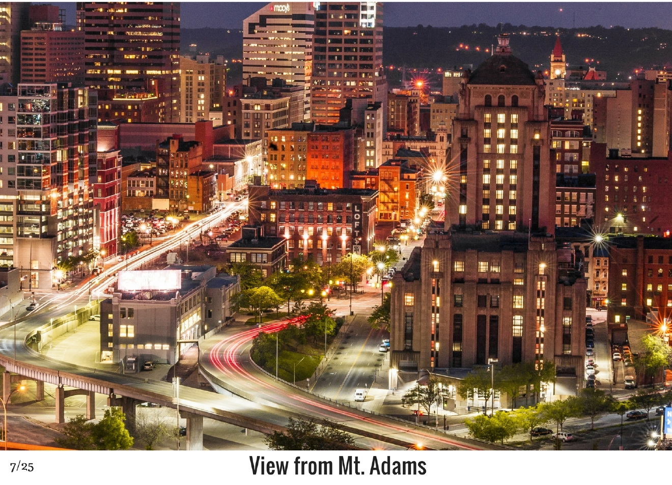 WHAT: View of the city from Mt. Adams / WHERE: The Celestial Steakhouse parking lot / Image: Phil Armstrong, Cincinnati Refined / Published: 10.27.16