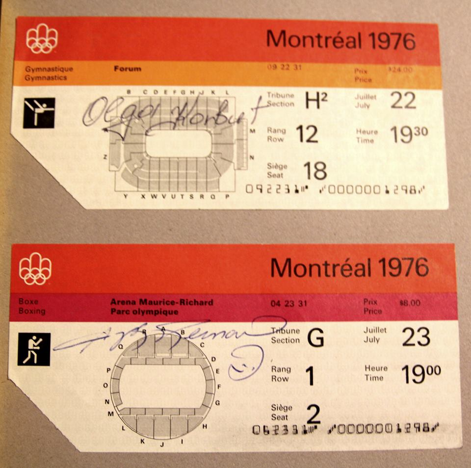 Olympic tickets from the Montreal 76 games. The gymnastic ticket on top is autographed by Olga Korbut, the darling of the 72 Munich games who battled Nadia Comaneci the darling of the 76 games. The boxing ticket below is autographed by Sugar Ray Leonard who won the gold there. The most expensive ticket for an athletic event was $24. 7/22/2016 (Larry | KSNV)