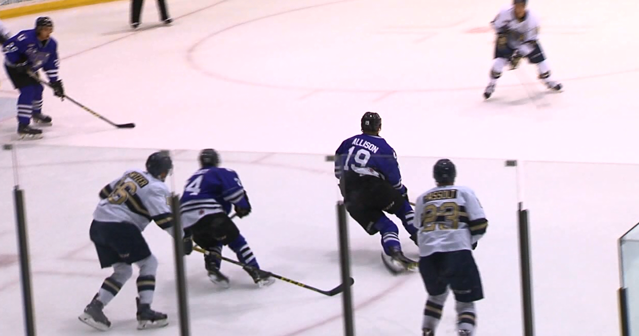 Former Storm forward Wade Allison advances the puck during a game played at the Viaero Center in Kearney. (NTV News)