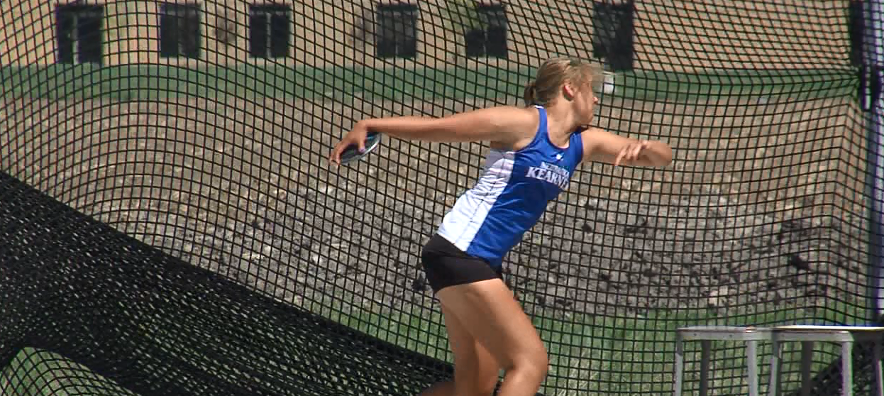 UNK's Ashley Petr prepares to throw the discus. Petr placed 2nd in the event. (NTV News)