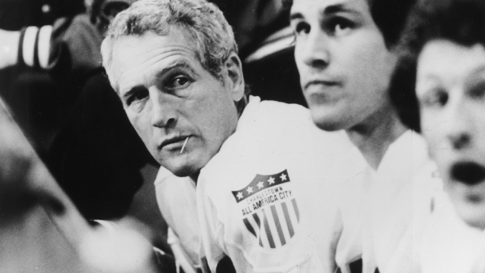 "Paul Newman stars as the coach of a minor-league hockey team in the Universal film ""Slap Shot,"" directed by George Roy Hill.  (Photo by Hulton Archive/Getty Images)"
