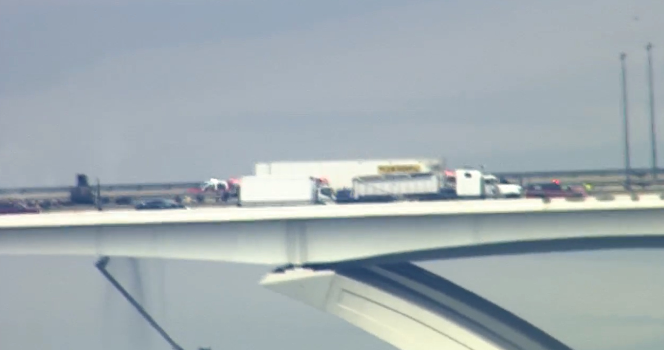 A person is dead after a crash and car fire on the Woodrow Wilson Bridge, Wednesday, June 20, 2018. (SkyTrak7)