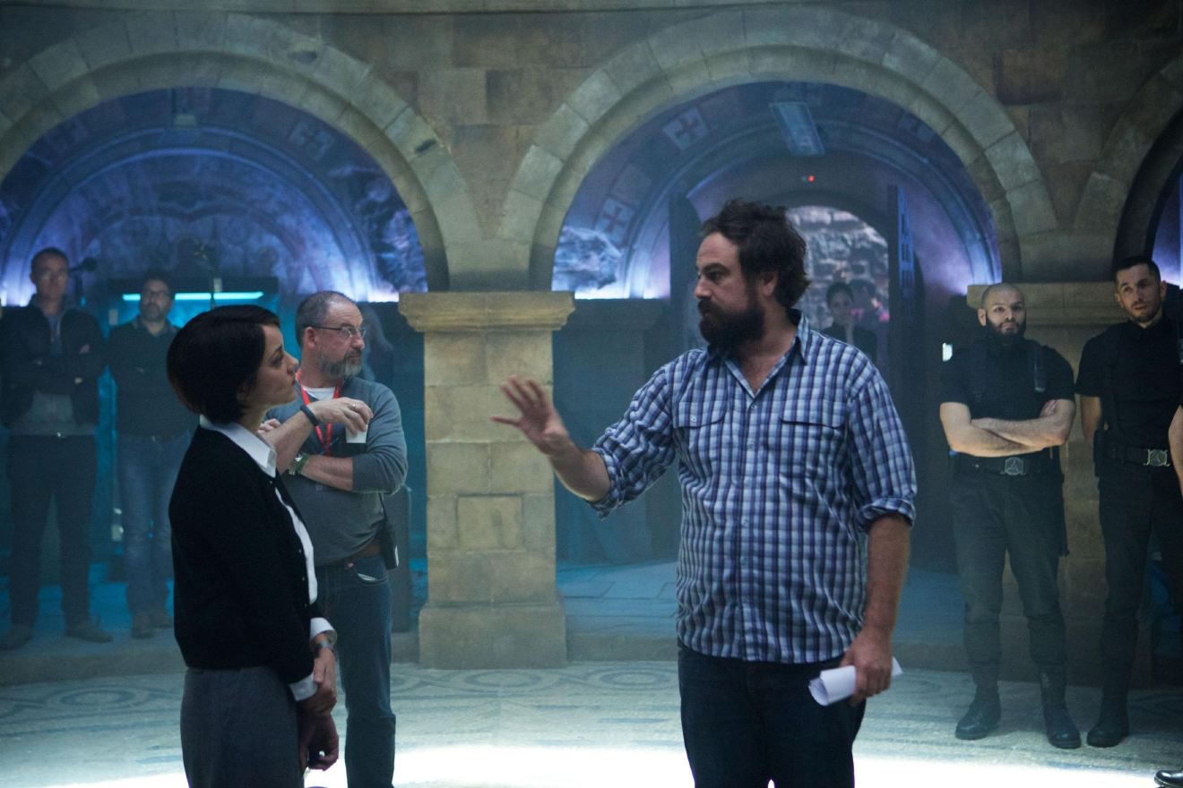 "Marion Cotillard and Director Justin Kurzel on the set of ""Assassin's Creed."" Photo: Kerry Brown."