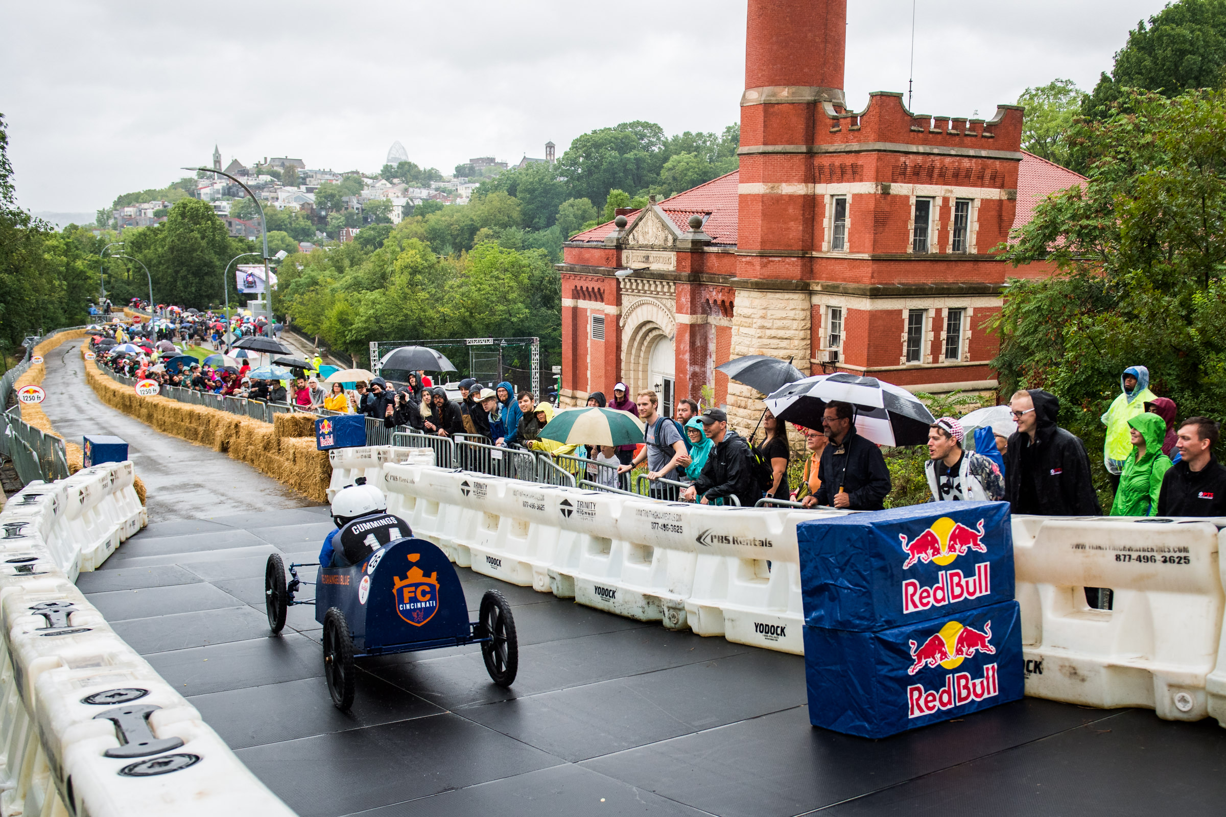 The RedBull Soapbox Race was (kind of) held on Saturday, September 8. Over 50 non-motorized, human-powered racing cars sporting different designs were ready to speed downhill through Eden Park. Unfortunately, due to rainy conditions, only 26 teams were able to compete. RedBull has held 100+ soapbox races around the world over the last 18 years; this year's event was Cincinnati's third soapbox race. / Image courtesy of RedBull // Published: 9.9.18