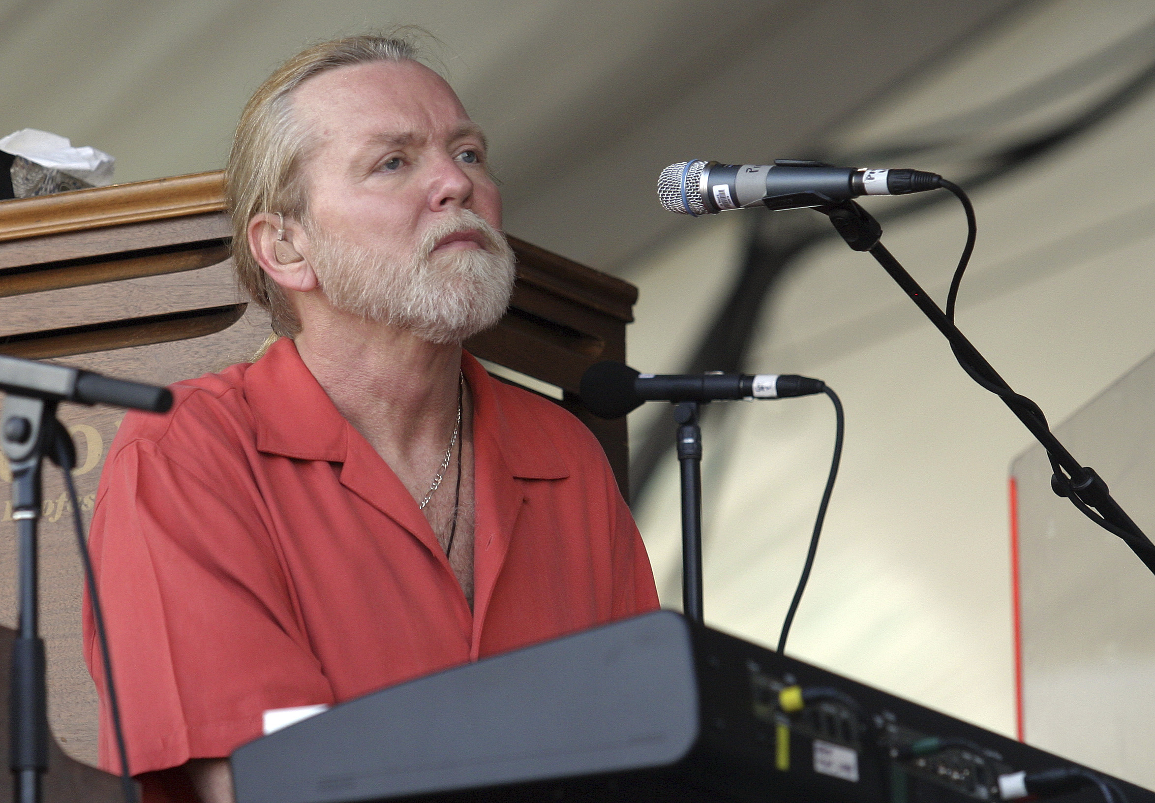 FILE - In this Saturday, May 5, 2007 file photo, Gregg Allman of the Allman Brothers performs during the 2007 Jazz and Heritage Festival in New Orleans. On Saturday, May 27, 2017, a publicist said the musician has died. (AP Photo/Dave Martin)