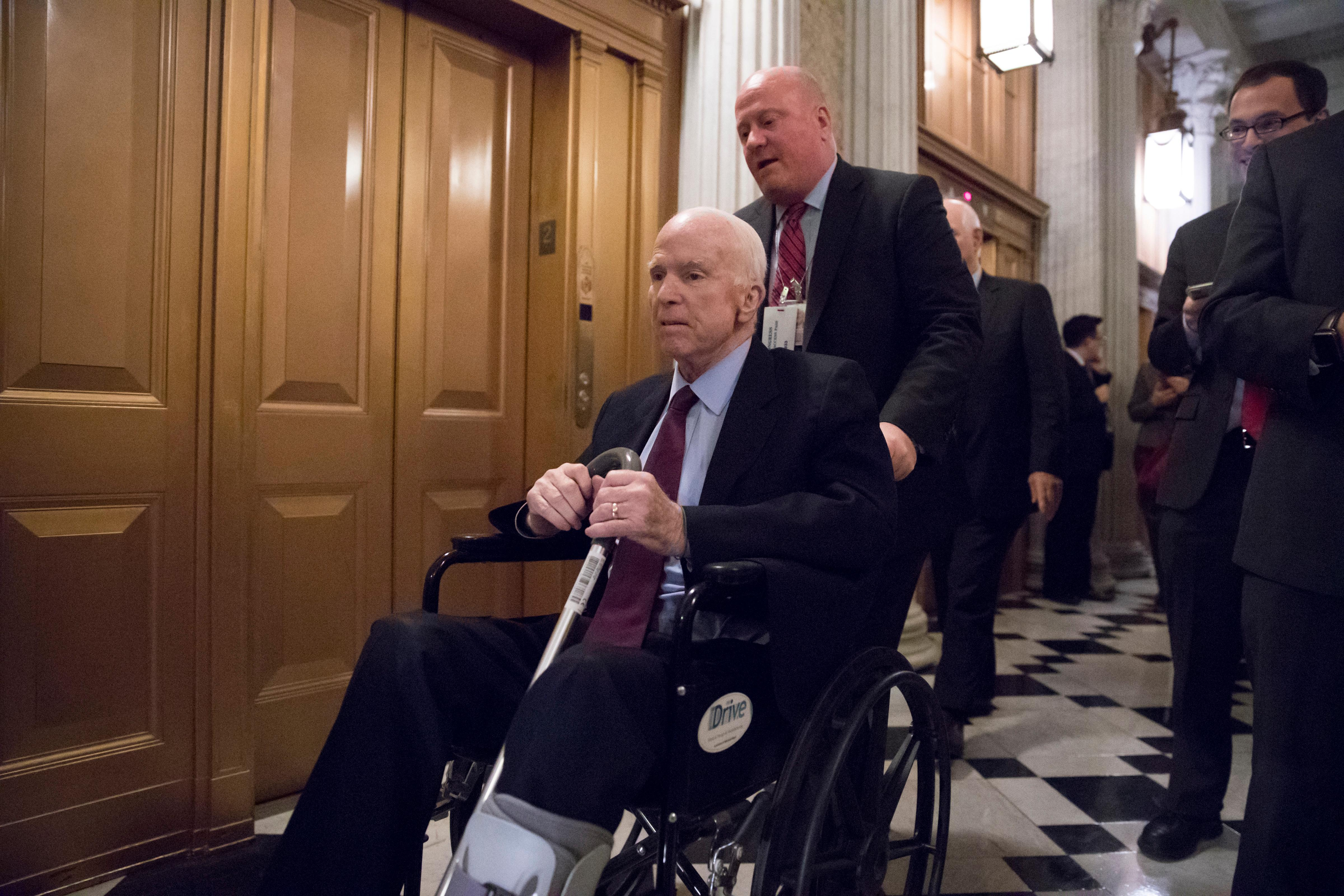 Senate Armed Services Chairman John McCain, R-Ariz., arrives for votes on Capitol Hill in Washington, Monday evening, Nov. 27, 2017. President Donald Trump and Senate Republicans are scrambling to change a Republican tax bill in an effort to win over holdout GOP senators and pass a tax package by the end of the year. (AP Photo/J. Scott Applewhite)