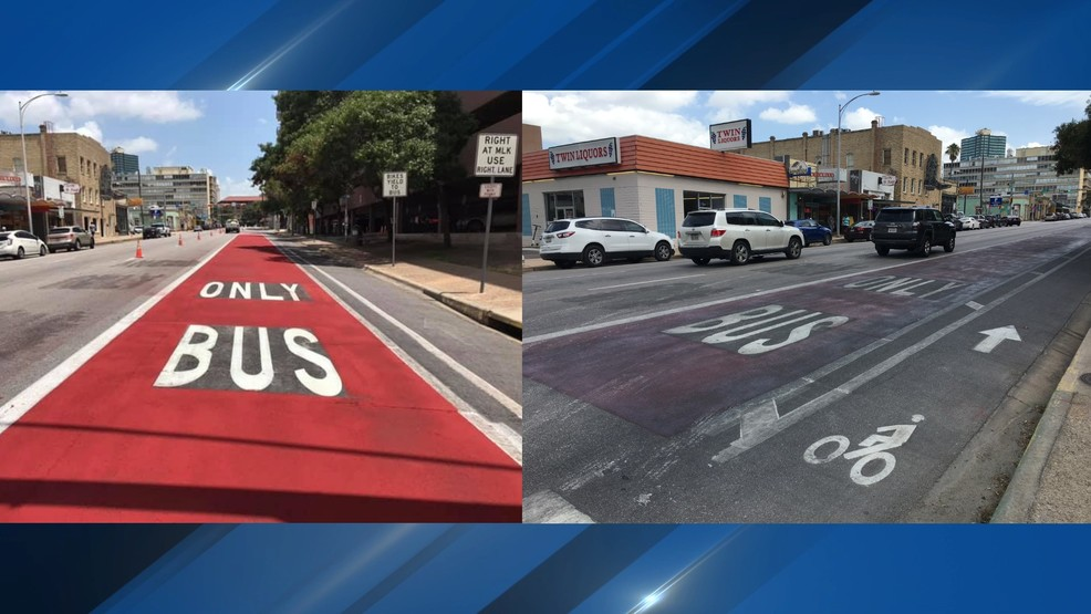 Newly painted red bus lanes in Downtown Austin already fading