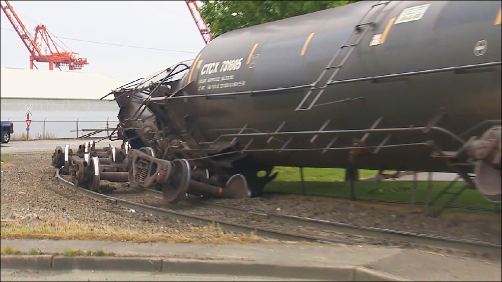 KOMO news photo of Tacoma rail car derailment