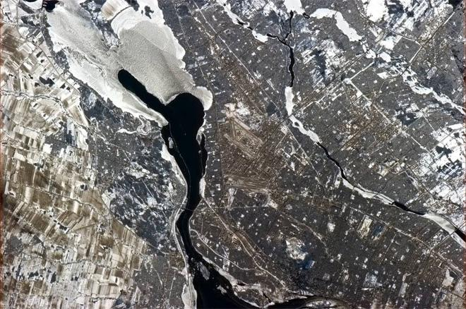 Montreal Trudeau Airport, Dorval, plus the south end of the city on a February winter's day.  (Photo & Caption: Col. Chris Hadfield, NASA)