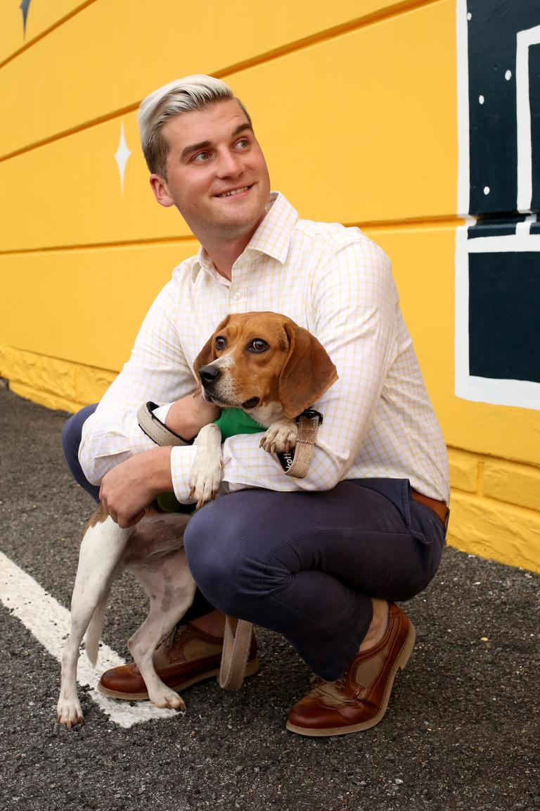 Wes is a 27-year-old political consultant and barre3 14th Street team member, who enjoys running, reading and eating. // Reece is a 1-year-old beagle mix who needs to go to a home with no kids and another dog. She is available for adoption through Lucky Dog Animal Rescue. (Amanda Andrade-Rhoades/DC Refined)