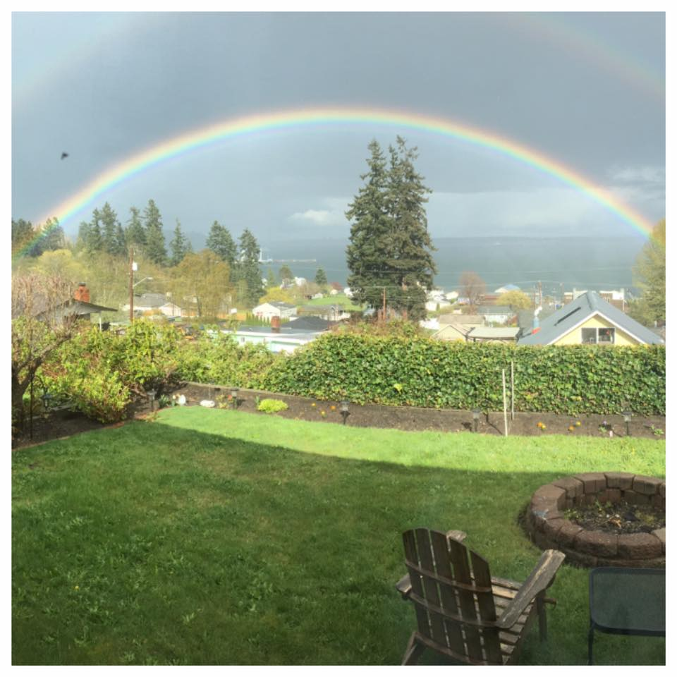 Rainbow spotted in Manchester, Wash. Monday, April 10, 2017. (Photo: Linda Garberg Linderman)