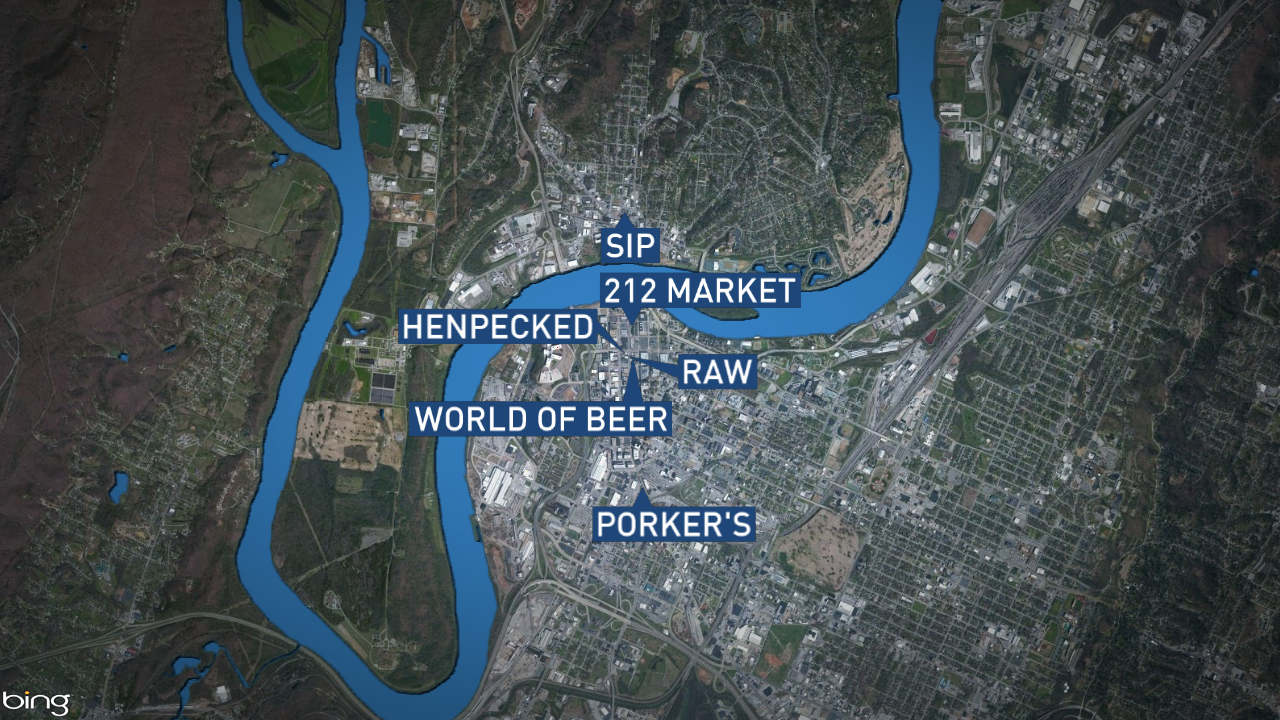 Those businesses are 212 Market, Henpecked, Raw Dance Club, Porker's BBQ, World of Beer, and Sip Coffee. (Image: WTVC)