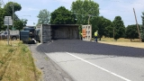 Dump truck spills asphalt all over road in Mendon crash