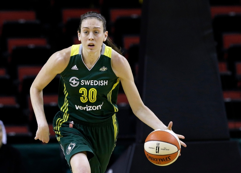 FILE - In this May 4, 2016 file photo, Seattle Storm's Breanna Stewart in action against the Phoenix Mercury in a WNBA preseason basketball game in Seattle. (AP Photo/Elaine Thompson, File)
