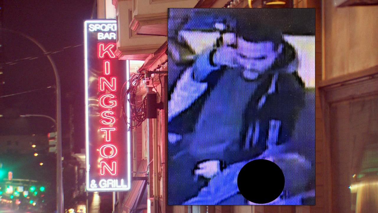 Stabbing suspect image from Portland Police alongside a KATU image of The Kingston Sports Bar and Grill.jpg