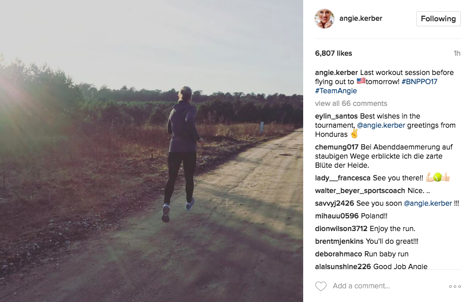 Angie Kerber posts a photo on Instagram of her last workout session before flying to the U.S. for the BNP Paribas Open.