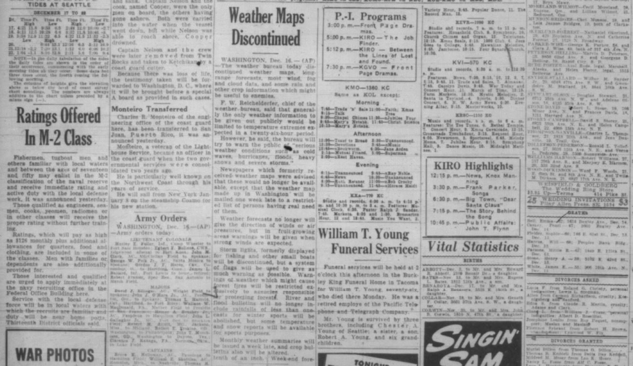 An Associated Press story &quot;Weather Maps Discontinued&quot; as it appeared in the Seattle Post-Intelligencer on Dec. 17, 1941 (Photo courtesy, Seattle Post-Intelligencer via Seattle Public Library)<p></p>
