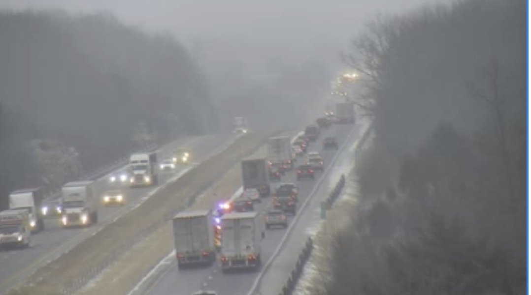 Traffic slowed on I-70 approaching Cooper County after multiple crashes closed the eastbound traffic. (Missouri Department of Public Safety)<p></p>