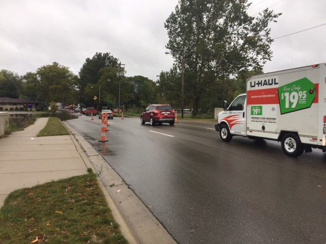 The intersection at Park Street and Crosstown Parkway in Kalamazoo is closed due to water on the road, according to the Michigan Department of Transportation. (Credit: Patrick Hagan -WWMT)